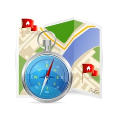 Blue compass and map vector
