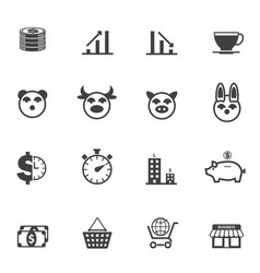 business and finance icons with texture background vector image vector image