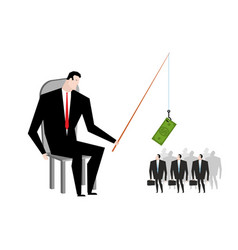 Business motivation boss holding dollar fishing vector