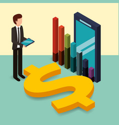 businessman holding tablet and smartphone chart vector image