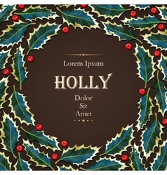 Card with holly vector