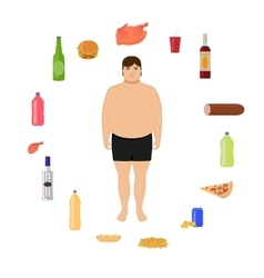 cartoon fat man and unhealthy food vector image