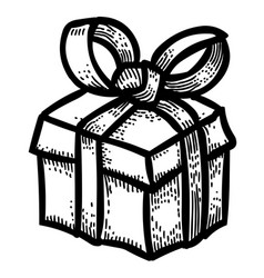 cartoon image of gift box icon present symbol vector image