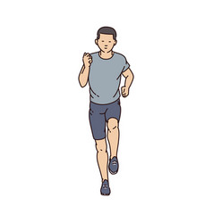 Cartoon running man from front view -young male vector