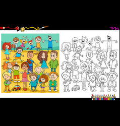Children and teens characters color book vector