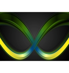 Colorful smooth waves on dark background vector