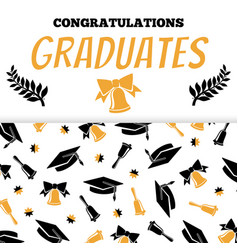 Congratlations graduates banner design with cap vector