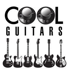 cool guitar graphic with lots of guitars vector image