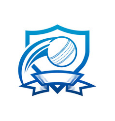 Cricket ball shield badge icon vector