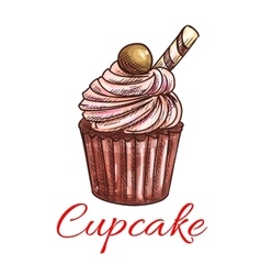 Cupcake sketch icon Patisserie emblem vector image