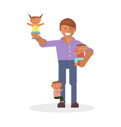 Dad and children vector