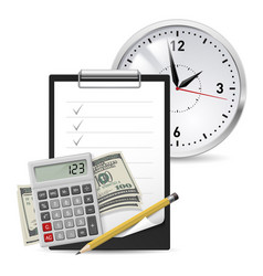 Dollars note and pen classic office clock and vector