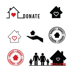 Donate icon with house and grunge rubber vector
