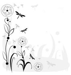 Drawing with flowers and insects vector