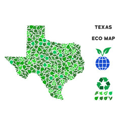 Ecology green mosaic texas map vector