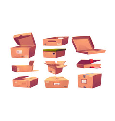 empty cardboard boxes different shapes vector image