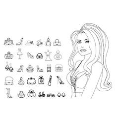 Fashion shopping icon doodle set vector image