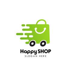 fast shopping logo design stock happy shop logo vector image