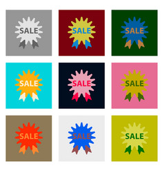 Flat assembly icons of sale label vector