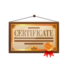 Flat color certificate icon isolated on white vector