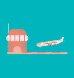 Flat icon in shading style plane at the airport vector