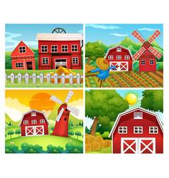Four scenes farmyards vector
