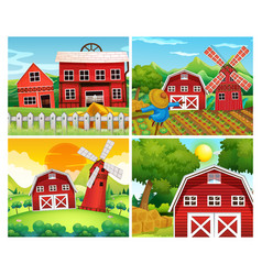 Four scenes of farmyards vector