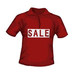 Front view red color male t-shirt with sale vector