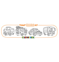Funny small cars with eyes coloring book set vector