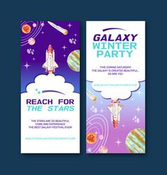 Galaxy flyer design with rocket solar system vector