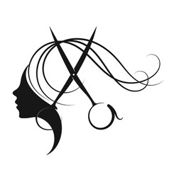 girl and hairdressing scissors with a comb vector image