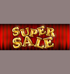 Gold super sale balloons for store banners vector