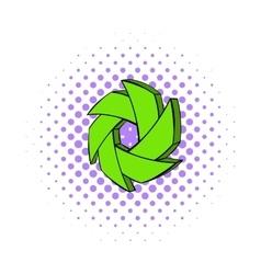 Green camera aperture icon comics style vector