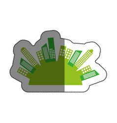 green cityscape buildings isolated icon vector image