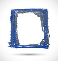 Grunge blue shabby frame vector