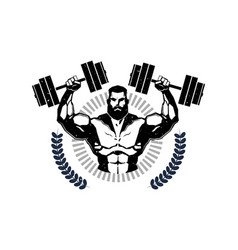 Gym logo with training athletic man hold barbells vector