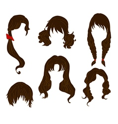 Hair styling for woman drawing Brown Set 4 vector