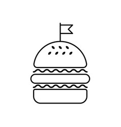 Hamburger linear icon flag vector