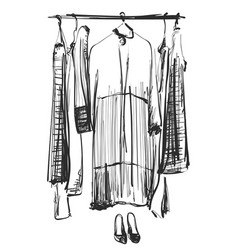 hand drawn wardrobe sketch clothes on the hunger vector image