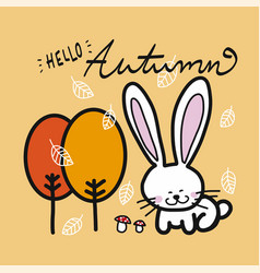 hello autumn tree falling leaf white rabbit vector image