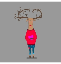 Hipster deer on grey backgroung holding heart vector