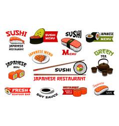 Japanese restaurant sushi menu icons vector