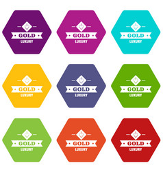 Jewelry gold icons set 9 vector
