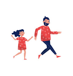 Joyful father and little girl in running action vector