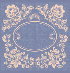 khokhloma floral background with circular frame vector image
