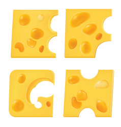 Letters from pieces of cheese e f g h vector
