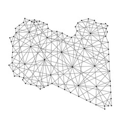 map of libya from polygonal black lines and dots vector image
