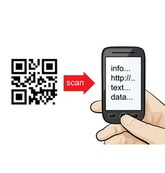 Mobile phone scanning qr code vector