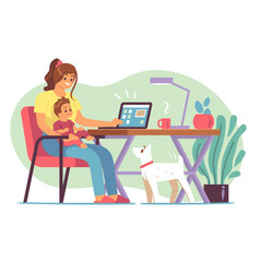 mother freelancer young mother raising child and vector image