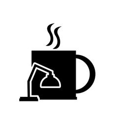 Mug and lamp icon vector